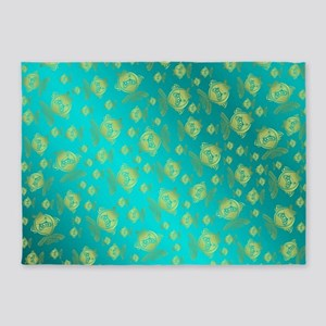 gold painted fish in metal mint blu 5'x7'Area Rug