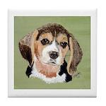 Beagle Tile Coaster (green w/white border)