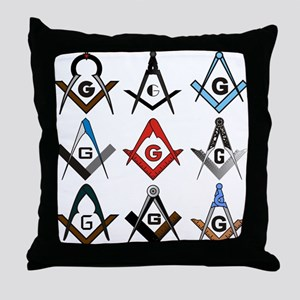Square and Compass Sampler Throw Pillow