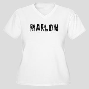 Marlon Faded (Black) Women's Plus Size V-Neck T-Sh
