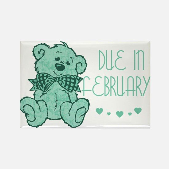 Green Marble Teddy Due February Rectangle Magnet