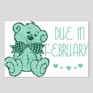 Green Marble Teddy Due February Postcards (Package