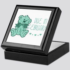 Green Marble Teddy Due February Keepsake Box