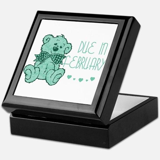 Green Marble Teddy Due February Keepsake Box