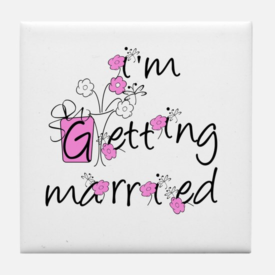 Flowers I'm Getting Married Tile Coaster