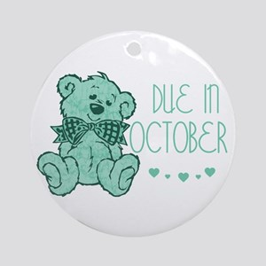 Green Marbled Teddy Due October Ornament (Round)
