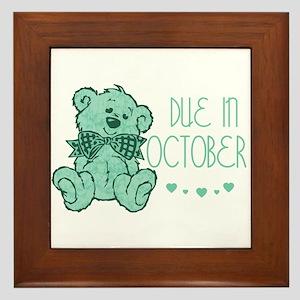 Green Marbled Teddy Due October Framed Tile