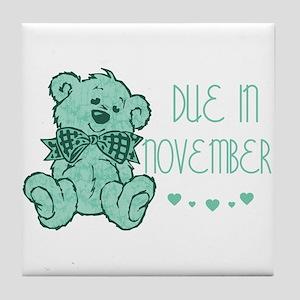 Green Marble Teddy Due November Tile Coaster