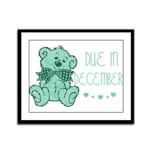Green Marble Teddy Due December Framed Panel Print