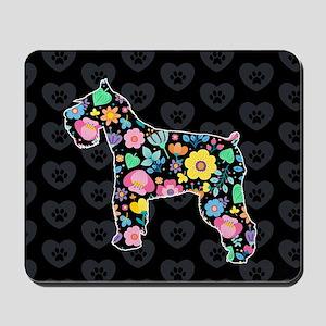 Cute Love My Schnauzer floral design Mousepad