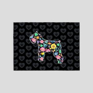 Cute Love My Schnauzer floral desig 5'x7'Area Rug
