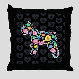 Cute Love My Schnauzer floral design Throw Pillow