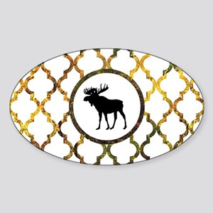 Moose: Fall Colors Moroccan Pattern Sticker (Oval)