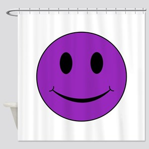 Purple Smiley Face Shower Curtain