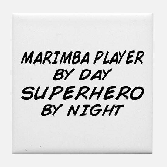Marimba Superhero by Night Tile Coaster