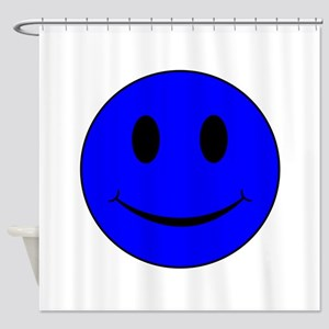 Blue Smiley Face Shower Curtain
