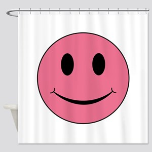 Pink Smiley Face Shower Curtain