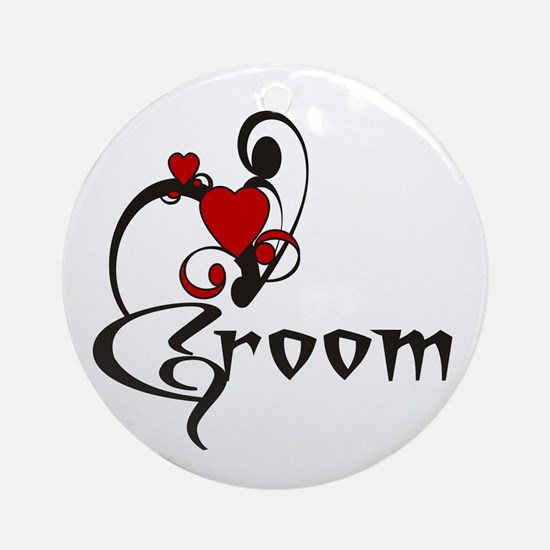 Red/Black Groom Ornament (Round)
