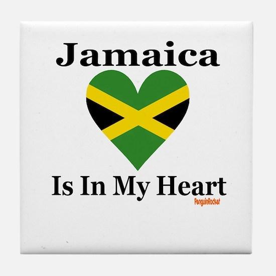 Jamaica - Heart Tile Coaster