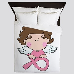 Breast Cancer Angel Pink Ribbon Queen Duvet