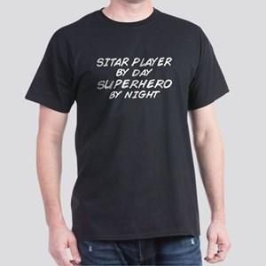 Sitar Plyr Superhero by Nght Dark T-Shirt
