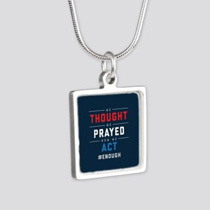 Now We Act #ENOUGH Silver Square Necklace