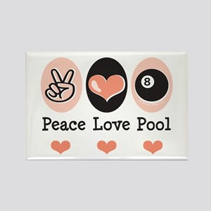 Peace Love Pool Eight Ball Rectangle Magnet