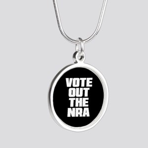 VOTE OUT THE NRA Silver Round Necklace
