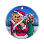 Santa Teddy Keepsake Porcelain Ornament (Round)