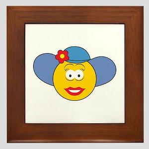 Girl Smiley Face With Hat Framed Tile