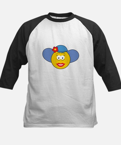 Girl Smiley Face With Hat Kids Baseball Jersey