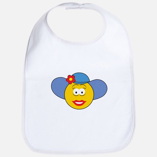 Girl Smiley Face With Hat Bib