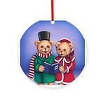 Bear Carolers Keepsake Porcelain Ornament (Round)