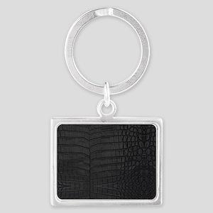 Black Crocodile Leather Pattern Keychains