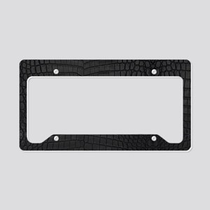 Black Crocodile Leather Pattern License Plate Hold
