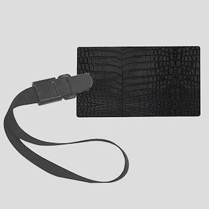 Black Crocodile Leather Pattern Luggage Tag