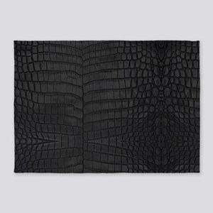 Black Crocodile Leather Pattern 5'x7'Area Rug