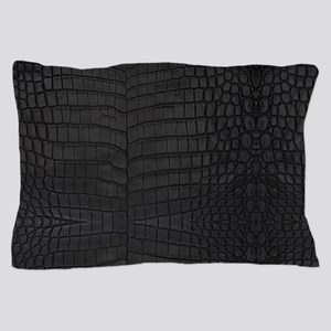 Black Crocodile Leather Pattern Pillow Case