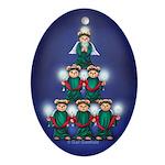 Teddy Tree Keepsake Oval Ornament