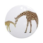 Giraffe Mom and Baby Round Ornament