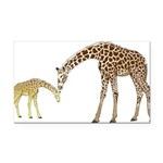 Giraffe Mom and Baby Rectangle Car Magnet