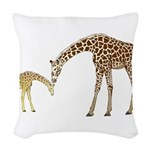 Giraffe Mom and Baby Woven Throw Pillow