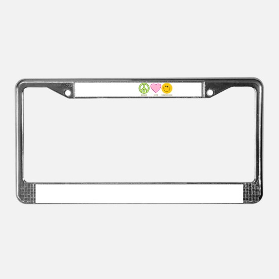 Peace Love & Happiness License Plate Frame