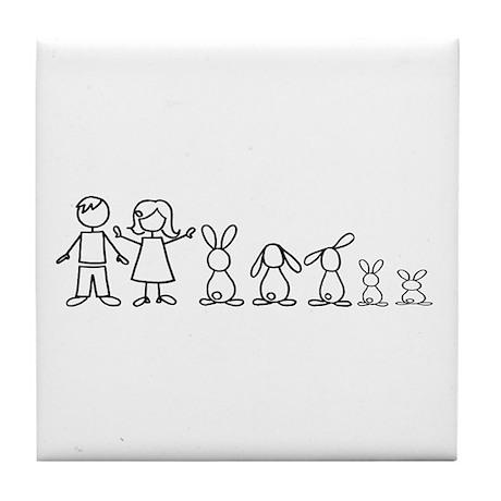 5 bunnies family Tile Coaster