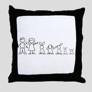5 bunnies family Throw Pillow