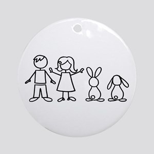 2 bunnies family Ornament (Round)