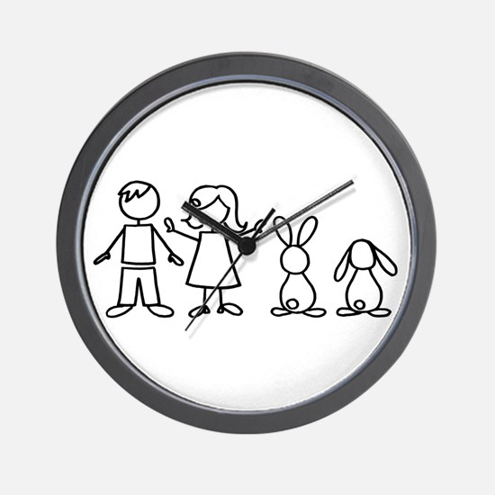 2 bunnies family Wall Clock
