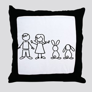 2 bunnies family Throw Pillow
