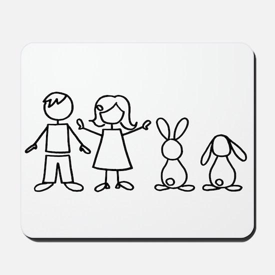 2 bunnies family Mousepad