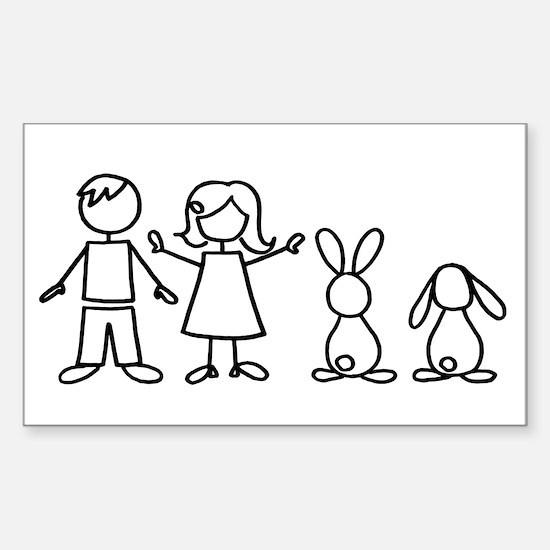 2 bunnies family Rectangle Decal